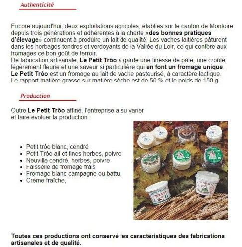 produits locaux du Val de Loire à Beaugency dans le Loiret, fromage petit-trôo par la laiterie de Montoire